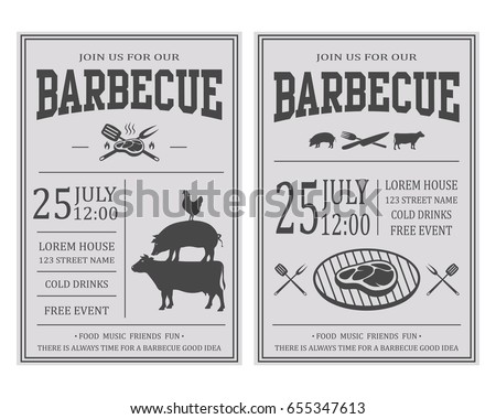 Vintage Barbecue Party Invitation Bbq Food Stock Vector 655347613
