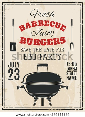 Vintage Barbecue Party Invitation Bbq Food Stock Illustration