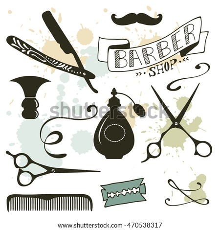 Vintage barber shop objects collection