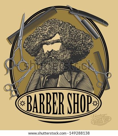 Vintage barber shop sign board with bearded man, scissors, razor. - stock vector