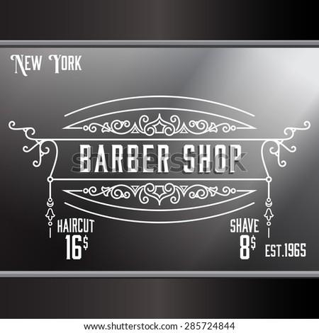 Vintage barber shop window advertising design template elegant line