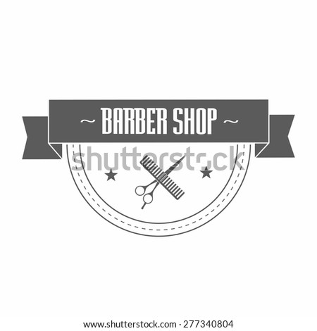 """Vintage barbershop logo in gray color. In it hairdressing scissors wrapped in a ribbon. On the tape label """"classic barber shop"""". Vector illustration. - stock vector"""