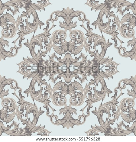 Vector damask pattern ornament exquisite baroque stock for Acanthus leaf decoration