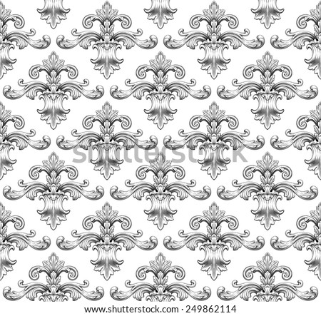 Vintage baroque damask seamless pattern leaf scroll floral ornament engraving border retro antique style swirl decorative design element black and white filigree vector - stock vector