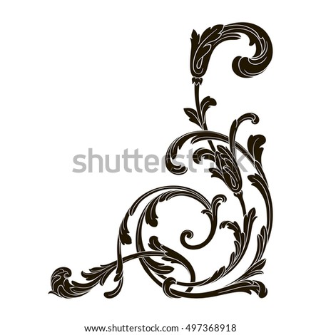 Vintage Baroque Frame Scroll Ornament Engraving Stock Vector 416936257 ...