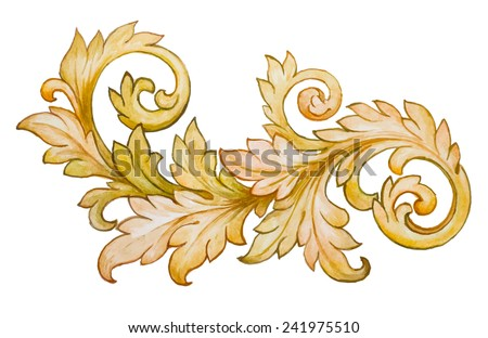 Vintage baroque floral scroll foliage ornament watercolor golden retro style design element vector - stock vector