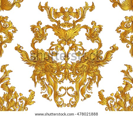 Vintage baroque floral seamless pattern in gold over white. Ornate vector decoration. Luxury, royal and Victorian concept. Golden element isolated on white.