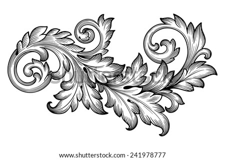 Baroque ornament on medieval letter template
