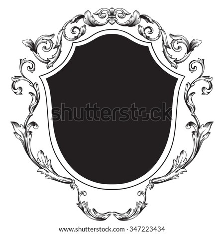 Vintage baroque frame scroll ornament engraving border floral retro pattern antique style acanthus foliage swirl decorative design element filigree calligraphy vector   damask - stock vector - stock vector