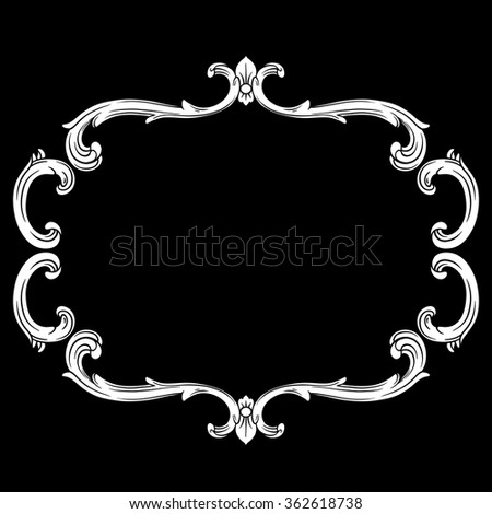 Vintage baroque frame scroll ornament engraving border floral retro pattern antique style acanthus foliage swirl decorative design element filigree calligraphy vector | chalkboard ornaments - stock vector