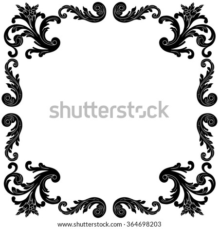 Black Filigree Border on circle and square pattern