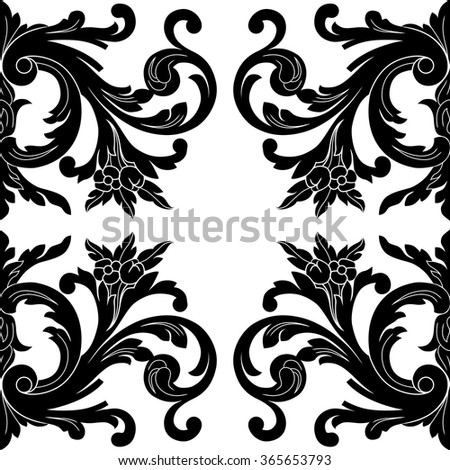 Vintage Baroque Frame Scroll Ornament Engraving Stock Vector HD ...