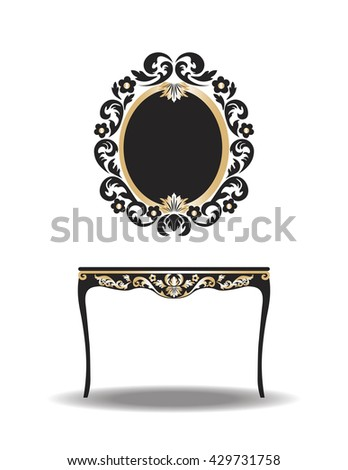 Vintage Baroque Furniture Table and Mirror frame. Vector Elegant Gold ornamented luxury furniture - stock vector