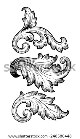 Vintage baroque leaf scroll set black and white foliage floral ornament filigree engraving retro style design element vector - stock vector