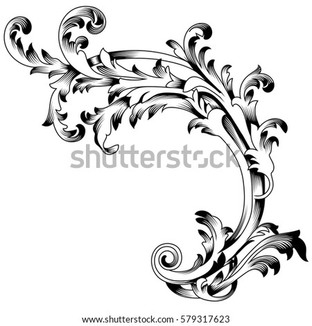 Vintage Baroque Ornament Corner Leaf Retro Pattern Antique Style Acanthus Decorative Design