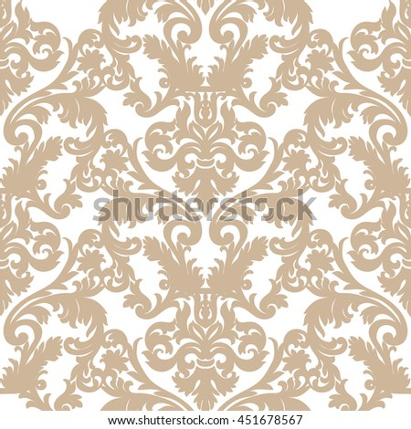 Vintage  Baroque ornament pattern. Vector Luxury damask decor. Royal Victorian texture for wallpapers, textile, fabric. Caramel color decor