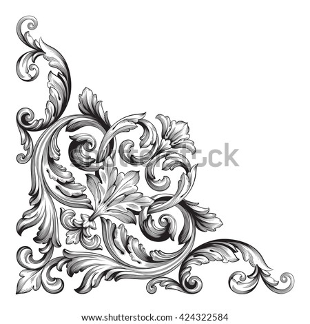 Vintage Baroque Frame Scroll Ornament Engraving Stock ... Барокко Орнамент