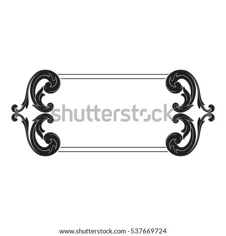 VIntage baroque ornament retro pattern antique style acanthus. Decorative design element filigree calligraphy vector. You can use for wedding decoration of greeting card and laser cutting.