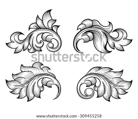 Vintage baroque scroll leaf set in engraving style element, ornate decoration, filigree floral. Vector illustration - stock vector