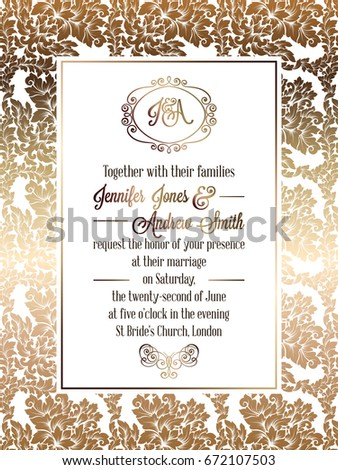 Vintage baroque style wedding invitation card stock vector vintage baroque style wedding invitation card template elegant formal design with damask background stopboris Gallery