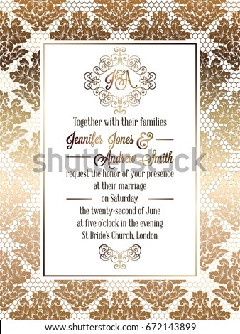 Vintage baroque style wedding invitation card stock vector 2018 vintage baroque style wedding invitation card template elegant formal design with damask background stopboris Image collections