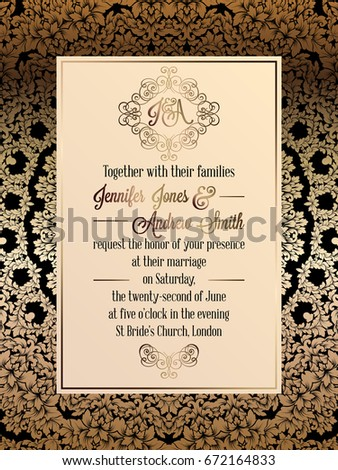 Vintage baroque style wedding invitation card stock vector 672164833 vintage baroque style wedding invitation card template elegant formal design with damask background stopboris Image collections