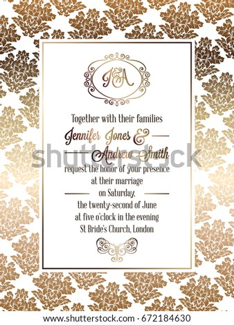 Vintage baroque style wedding invitation card stock vector 2018 vintage baroque style wedding invitation card template elegant formal design with damask background stopboris Choice Image
