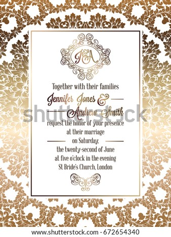 Vintage baroque style wedding invitation card stock vector hd vintage baroque style wedding invitation card template elegant formal design with damask background stopboris Image collections