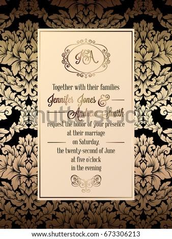 Vintage baroque style wedding invitation card stock vector vintage baroque style wedding invitation card template elegant formal design with damask background stopboris Gallery
