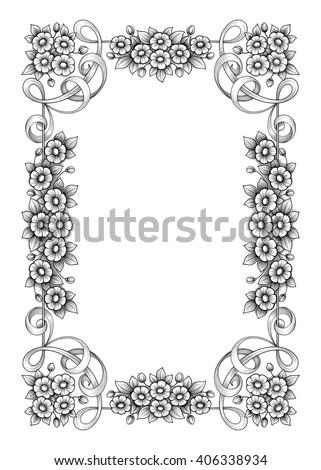 Vintage Baroque Victorian frame border monogram floral ornament leaf scroll engraved retro flower pattern decorative design tattoo black and white filigree calligraphic vector heraldic shield swirl - stock vector