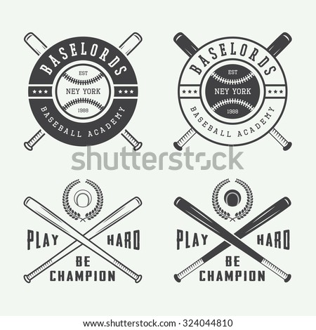 Vintage baseball logos, emblems, badges and design elements. Vector illustration - stock vector