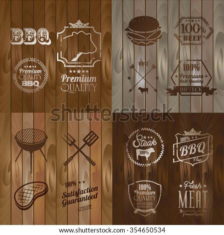 Vintage BBQ Beef menu restaurant symbol on Wooden striped fiber textured background - stock vector