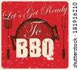 Vintage BBQ card, vector illustration - stock vector