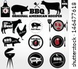 Vintage BBQ Grill elements - stock vector