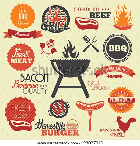 Vintage BBQ Grill labels - stock vector