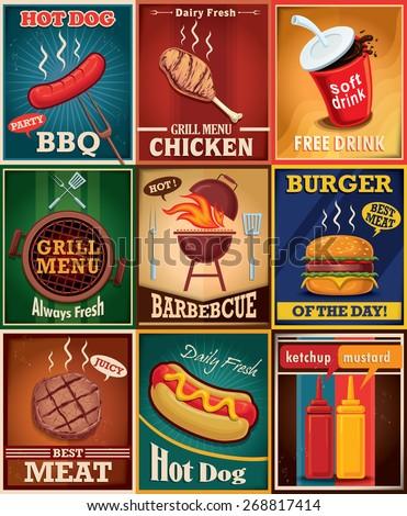 Vintage BBQ grill poster design set - stock vector