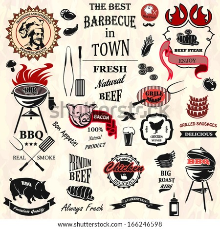 Vintage BBQ labels - stock vector
