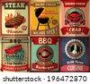 Vintage BBQ steak poster design set - stock vector