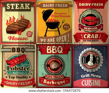 Vintage BBQ steak poster design set - stock vector