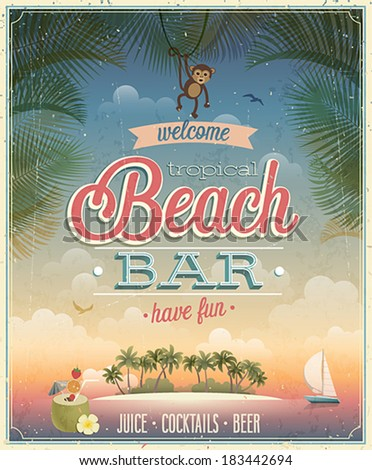 Vintage Beach Bar poster. Vector background. - stock vector