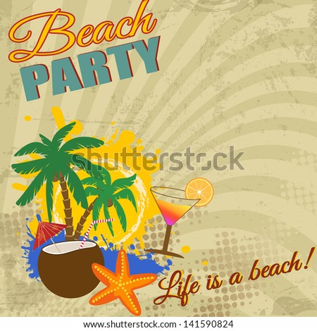 Vintage Beach Party poster on retro style, vector illustration