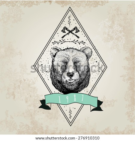 Vintage  Bear logo. Design for t-shirt apparel print fashion design, graphic tee, vector illustration of bear on surfboard. - stock vector