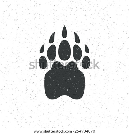 Vintage bear paw mammal symbol. Can be used for T-shirts print, labels, badges, stickers, logotopypes vector illustration. - stock vector