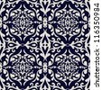 Vintage beautiful background with rich, old style, luxury ornamentation, fashioned seamless pattern, royal blue color vector wallpaper, floral, oldest style swatch fabric for decoration and design - stock vector