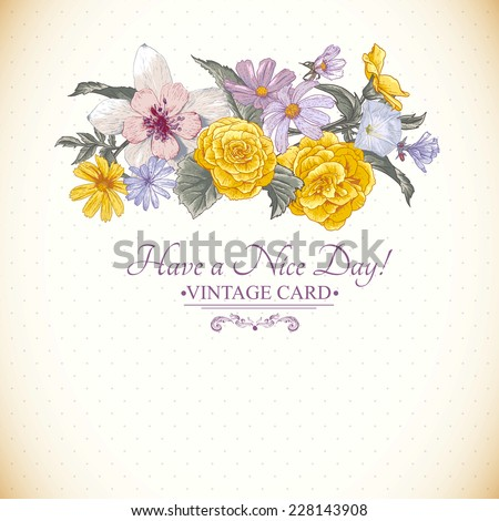 Vintage beautiful floral bouquet, botanical greeting card - stock vector