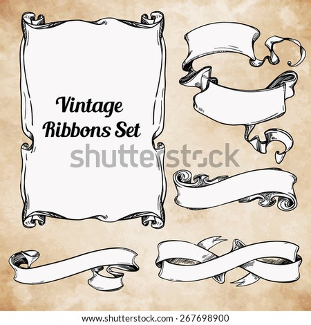 Vintage beautiful hand drawn design elements set. Page decor banners ribbons. Vector illustration. Engraved decorative ornate frames. Victorian style. Place for text message. Ink on aged card paper.  - stock vector