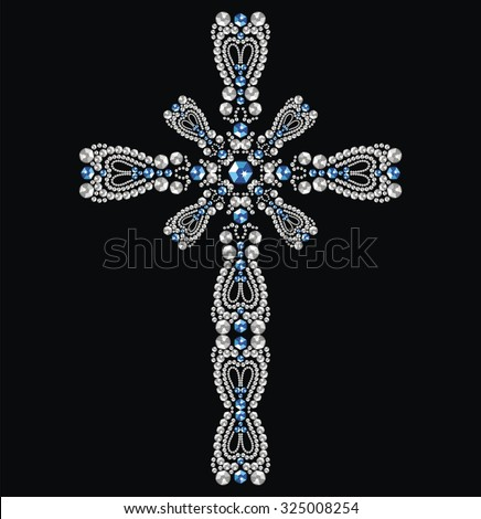 Vintage beautiful ornate Christian Cross from brilliant stones, silver and sapphires. Rhinestone applique, decoration for clothing. Christmas winter cards (abstract vector art illustration) - stock vector