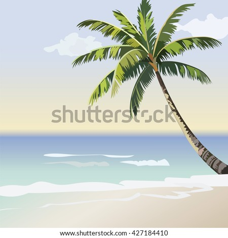 Vintage beautiful Sunset Seaside Tropical card. Summer beach and Palm tree Vector background