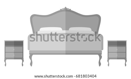 Vintage Bed And Bedside Tables Interior Design Elements Illustration Isolated On White Background