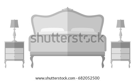 Vintage Bed Bedside Tables And Lamp Interior Design Elements Illustration Isolated On White